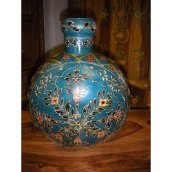Jar Agua peinte mano turquoise (MM)