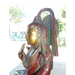 cerámica gancho 8x8 cm 5 turquesa y flores blancas
